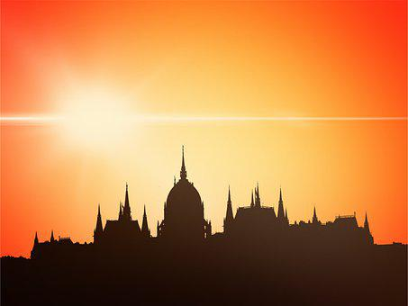 Mosque, Buildings, Sunset, Silhouette, Sky, Dome, Islam