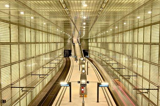 Train, Railway Station, Tunnel, Platform, Transport