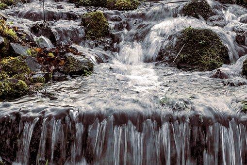 River, Waterfall, Rocks, Moss, Nature, Stream, Cascades