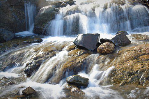 Waterfalls, Flowing Water, Mountains, Cascading, Rocky