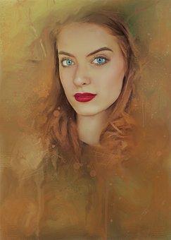 Girl, Portrait, Oil Painting, Digital Painting, Beauty