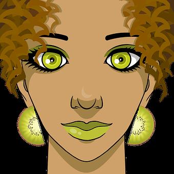 Woman, Kiwi, Portrait, Fruit, Brown Hair, Girl