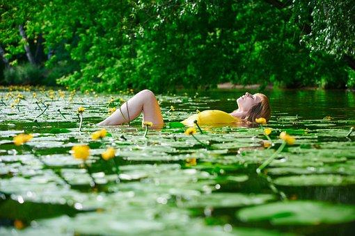 Girl, Pond, Bathing, Swim, Sensual, Breast, Portrait