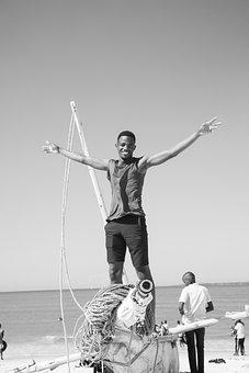 Beach, Boat, Man, Tanzania, Black And White