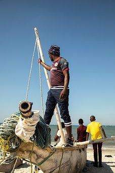 Beach, Boat, People, Tanzania, Fishing Boat, Man, Coast