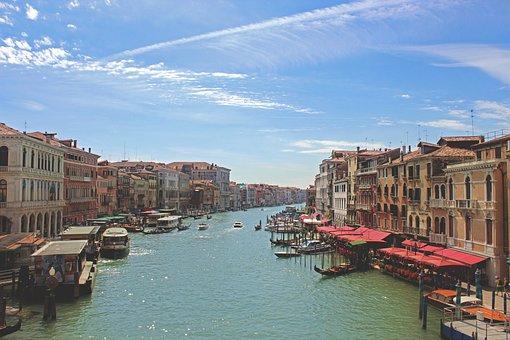 Canal, River, Gondolas, Boats, Houses, Buildings