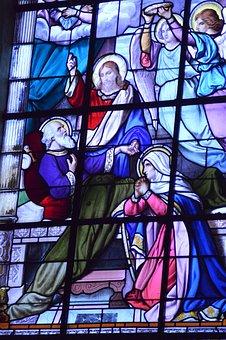 Stained Glass, Window, Church, Joseph, Mary, Jesus
