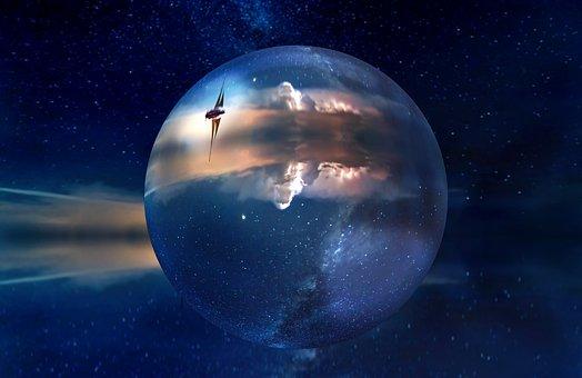 Lens Ball, Night, Sky, Ball, Glass, Lens, Laser