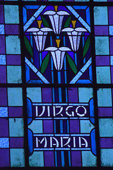 Stained Glass, Window, Church, Blue, Flowers, Lily