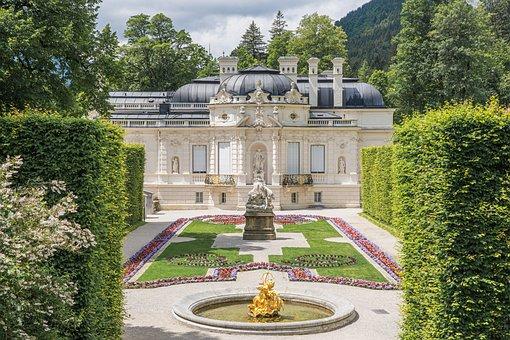 Castle, Linderhof Palace, Building, Park, Rococo