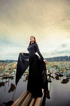 Woman, Model, Portrait, Black Dress, Pose, Outdoor