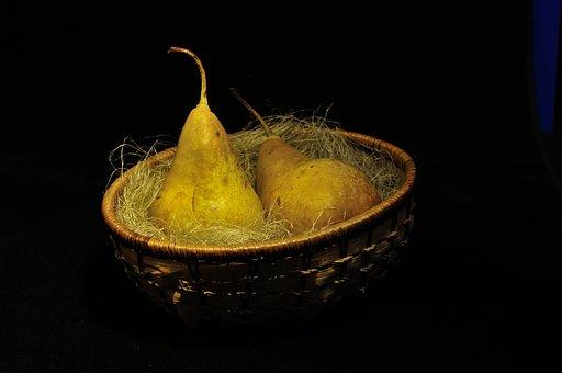 Pears, Fruit, Basket, Food, Produce, Organic, Straw