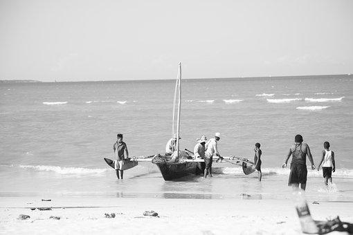 Beach, Boat, People, Tanzania, Black And White