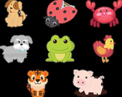 Animals, Cartoon, Collection, Crab, Dog, Chicken, Pig