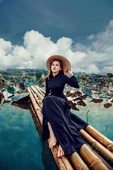 Woman, Model, Portrait, Black Dress, Pose, Hat, Outdoor