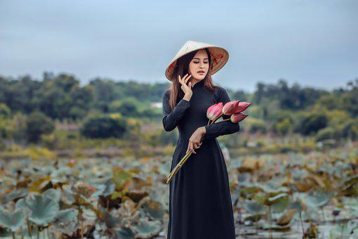 Woman, Model, Portrait, Black Dress, Pose, Flowers