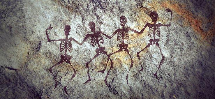 Cave Paintings, Rock, Stone, Wall, Skeleton, Human