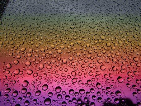 Drops, Rain, Window, Glass, Surface, Particles
