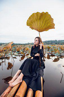 Woman, Model, Portrait, Black Dress, Pose, Lotus Leaves