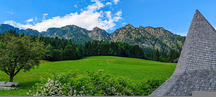 Mountains, Field, Landscape, Trees, Nature, Roof, House