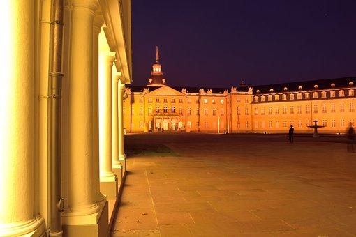 Castle, Columnar, Blue Hour, Karlsruhe, Abendstimmung