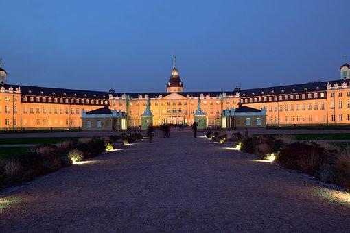 Castle, Blue Hour, Karlsruhe, Abendstimmung