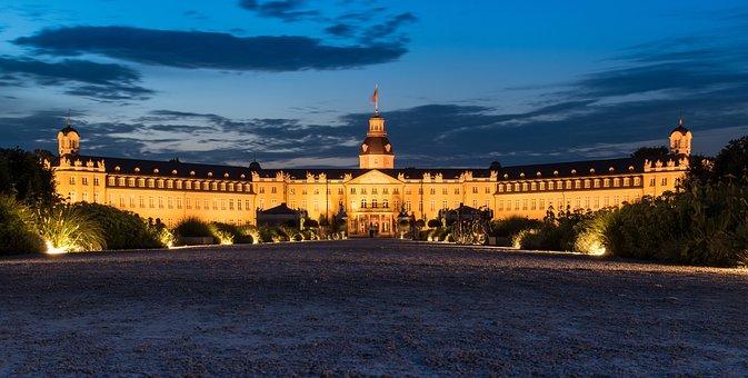 Karlsruhe, Castle, Blue Hour, Castle Illuminations
