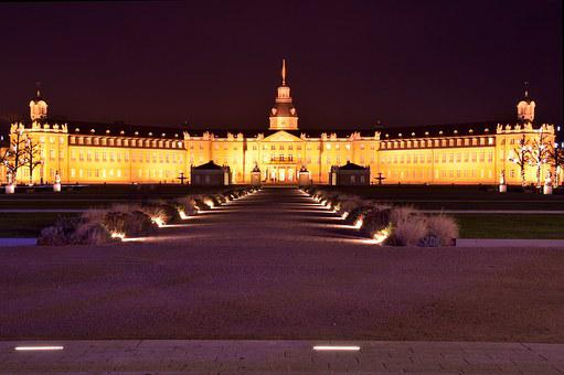 Castle, Karlsruhe, Night, Lighting, Mood