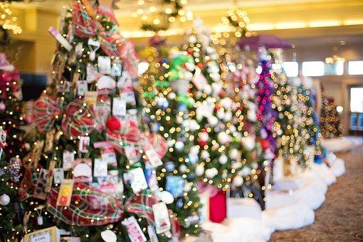 Christmas Trees, Decorated, Holiday, Christmas Lights