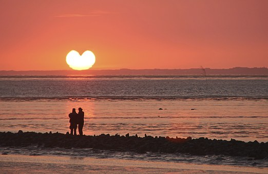 Sunset, Heart, Afterglow, Sea, Sun, Evening Sky