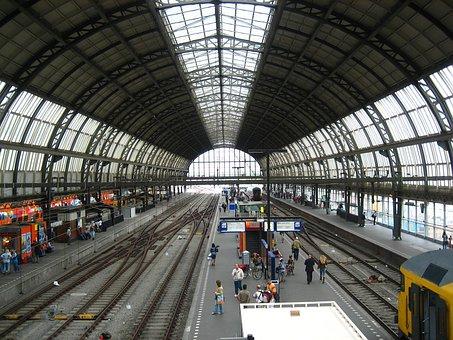 Railway Station, Concourse, Trains, Hall, Round, Rails