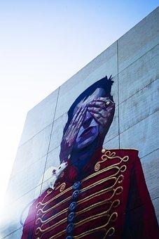 Graffiti, Painting, Wall, Uniform, Cat, Hide, Peek