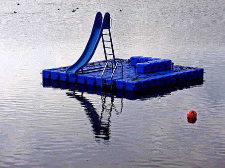 Stadtparksee, Lake, Play Pontoon Children, Water