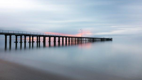 Pier, Jetty, Beach, Smooth, Sunset, Sea, Ocean, Shore