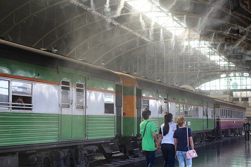Train, Railway Station, Thailand, Railway, Concourse