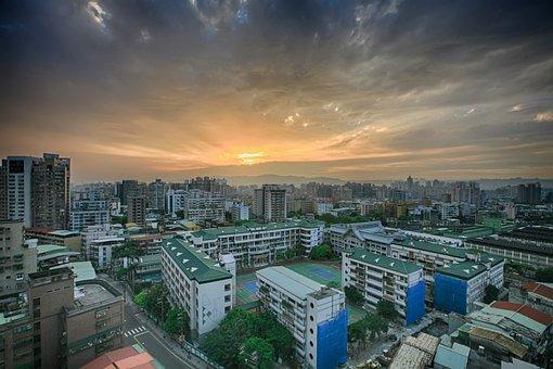 City, Housing, School, Taipei, The Evening Sun