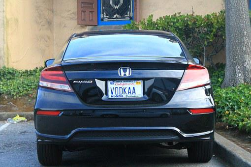 Auto, Vodka, California, License Plate, Honda, Civic