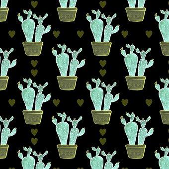 Cactus, Plant Pot, Background, Pattern, Design
