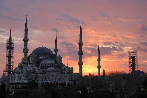 Blue Mosque, Istanbul, Sunset, Turkey, Mosque, Minaret