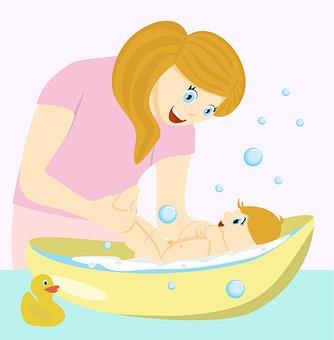 Mom, Baby, Bathing, Duck, Joy, Bath, Bubbles, Boy
