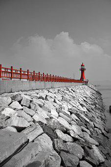 Lighthouse, Red, Sea, Nature, Sky, Architecture, Light