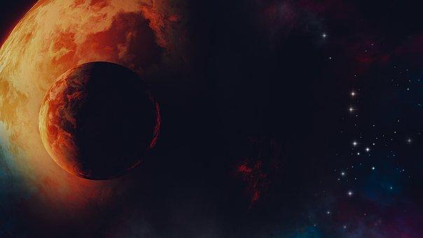 Universe, Space, Moon, Galaxy, Stars, Earth, Sky