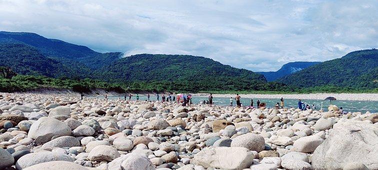Rocks, River, Mountains, Bangladesh, Sylhet, Volaganj