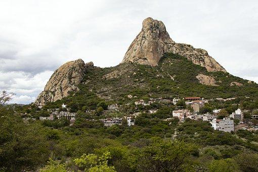 Peña De Bernal, Mountain, Town, Monolith, Landscape