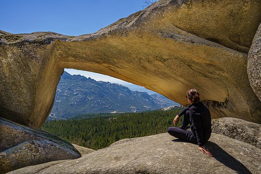Natural Arch, Mountain, Woman, Rest, Relaxation