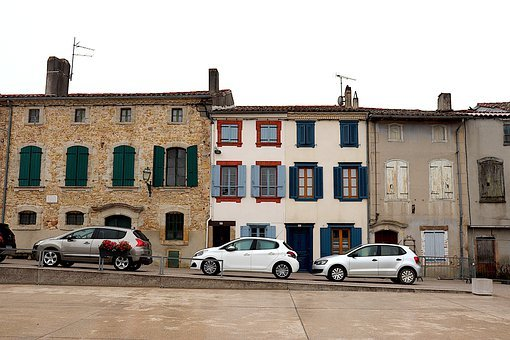 Village, Buildings, Street, Road, Cars, Houses