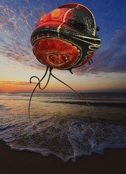Alien, Robot, Sea, Sky, Sunset, Aircraft, Tentacles