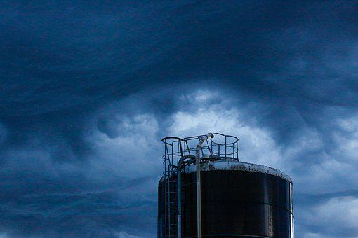 Clouds, Storm, Water Tower, Sky, Storm Clouds