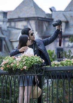 Couple, Selfie, Travel, Love, People, Camera