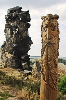 Teufelsmauer, Wood Figure, Carving, Devil's Wall, Wood